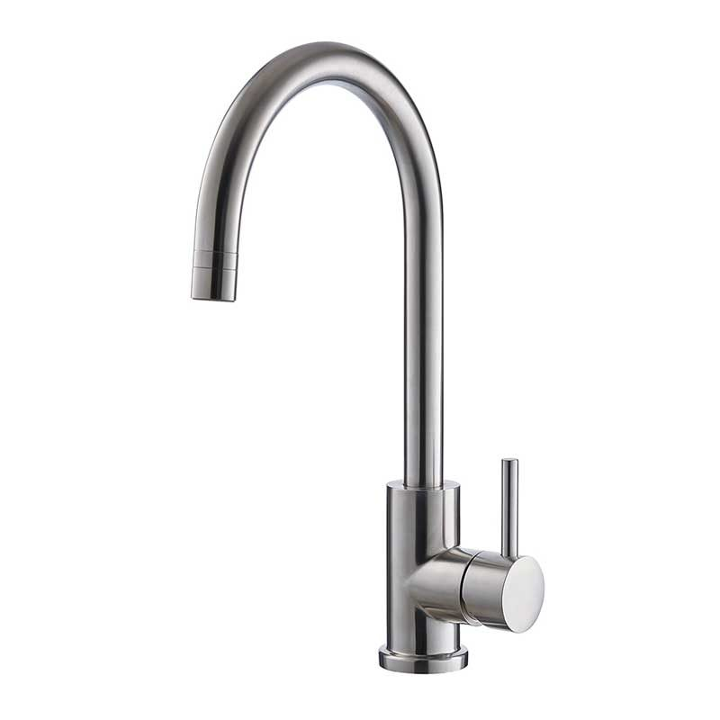 Solid Stainless Steel Kitchen Sink Faucet, High Arc Single Lever Bar ...