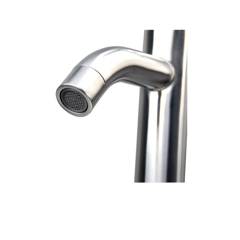 brushed stainless steel tall bathroom faucet