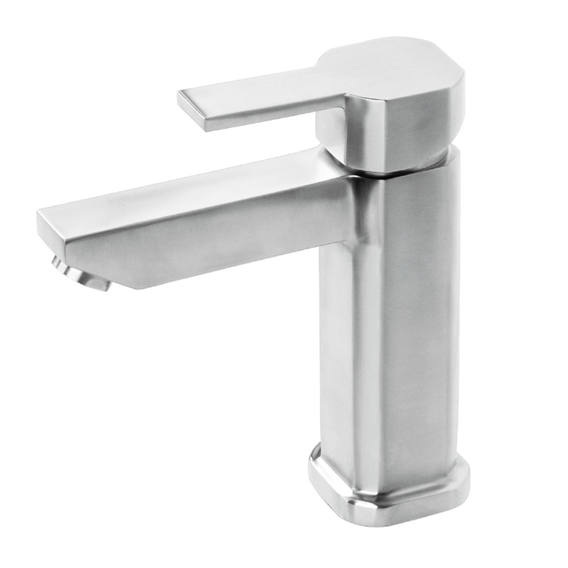 stainless steel single hole square basin mixer tap