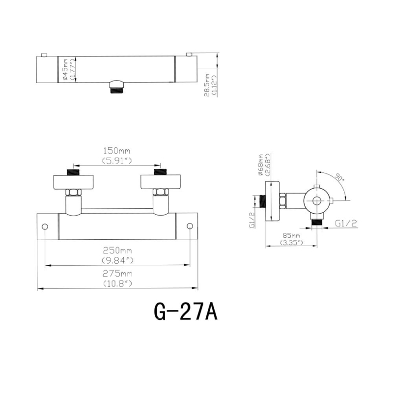 SIZE OF best thermostatic shower valve