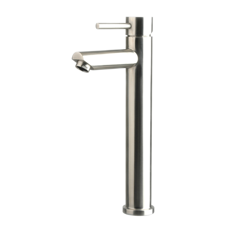 Brushed Stainless steel tall vessel sink faucet