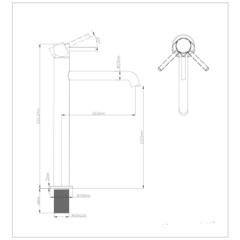 size of tall basin faucet for small sinks