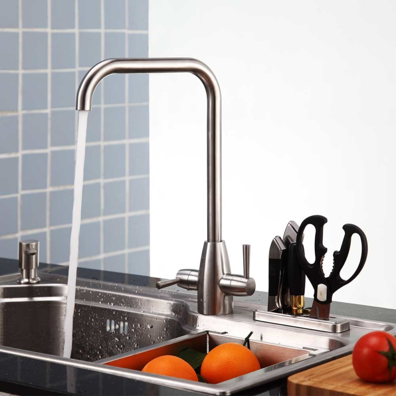 two handle kitchen mixer tap stainless steel