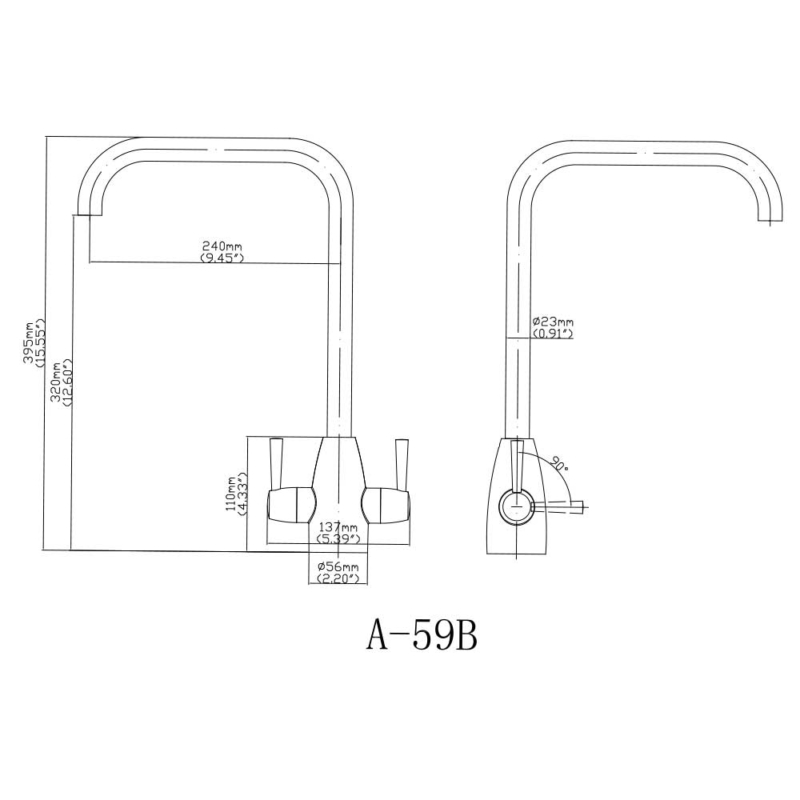size of best two handle kitchen faucet