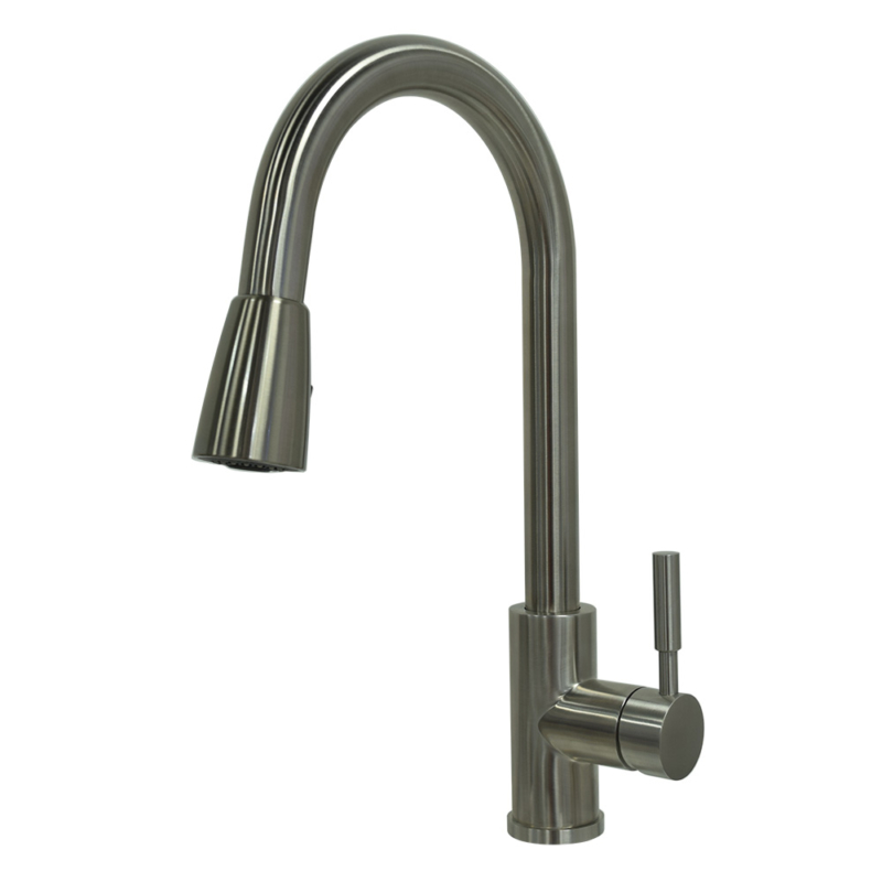 stainless steel pull down kitchen faucet with pause function sprayer