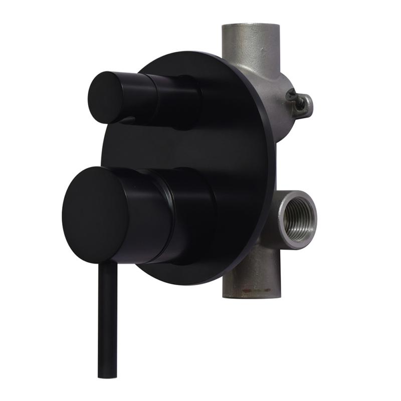 Round trim set with conceal shower valve in matte black