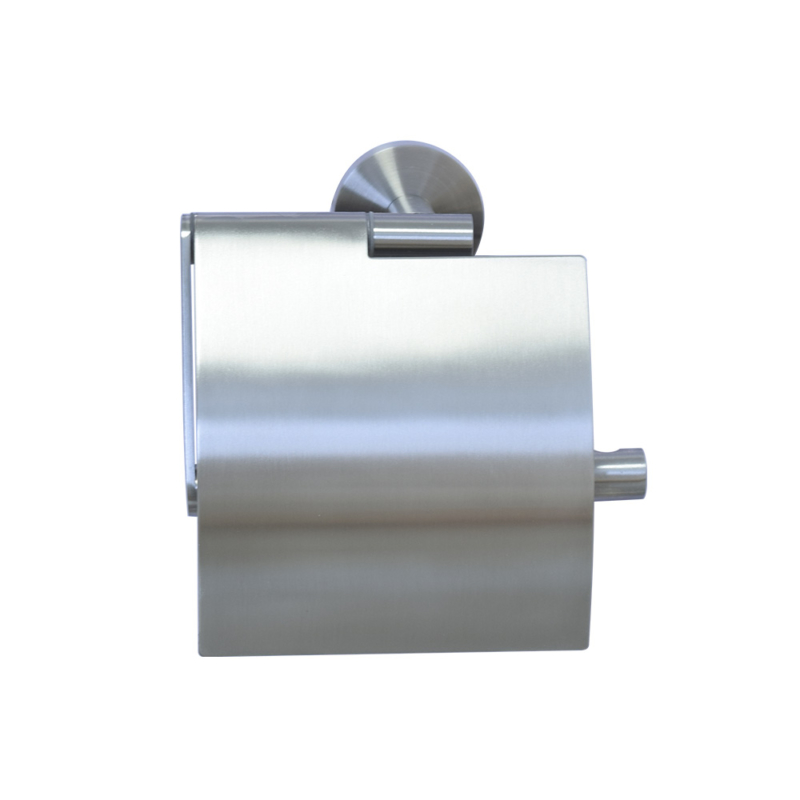 Covered toilet paper holder,Brushed stainless steel