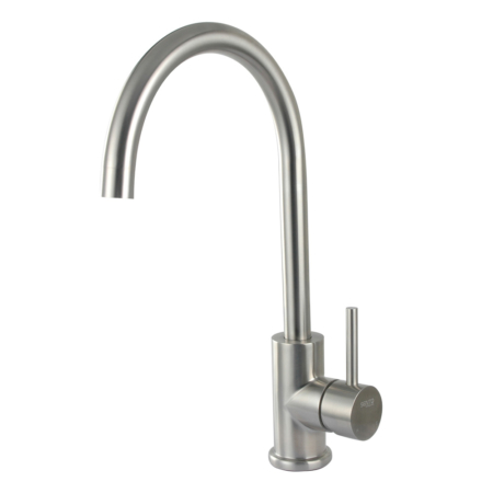 Brushed stainless steel monobloc tap