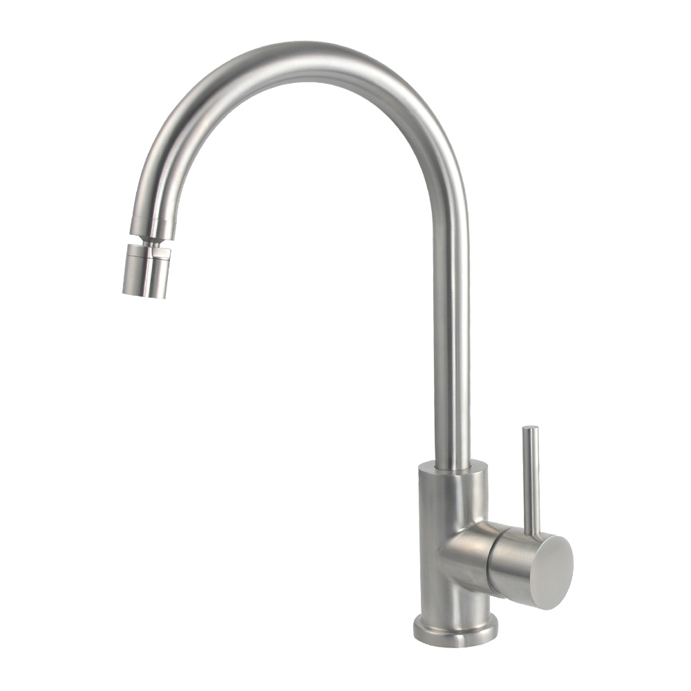 Single Lever Gooseneck Kitchen Faucet With Swivel Aerator