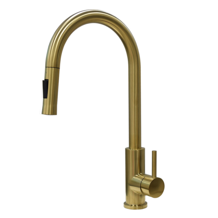 Gold pull down kitchen faucet