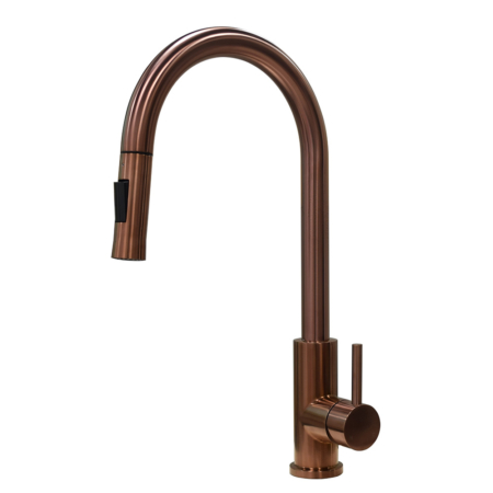 Rose gold kitchen faucet with pull down sprayer