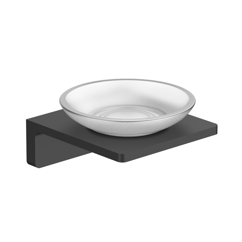 wall mounted matte black soap dish
