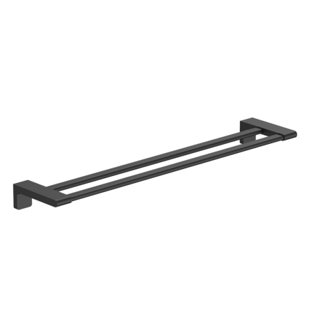 Stainless steel matte black double towel rail
