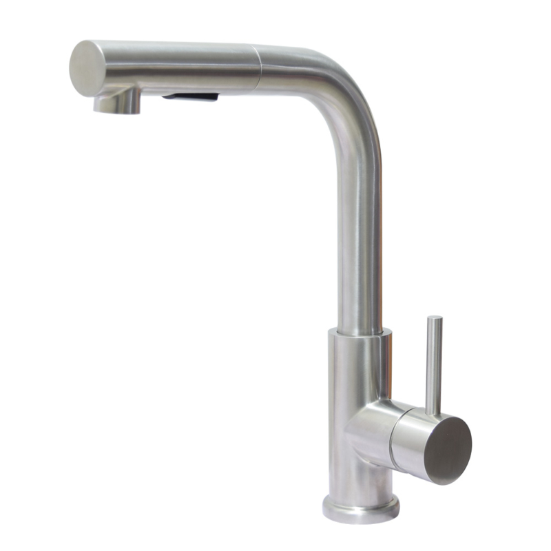 Brushed steel pull out kitchen tap
