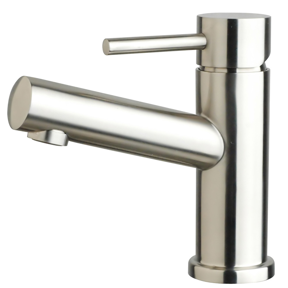 Dolcetto single hole bathroom sink faucet, stainless steel, brushed, bristol sink